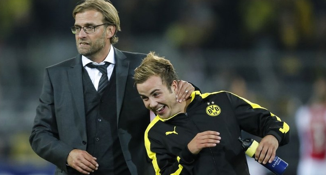 Gotze and Liverpool manager Klopp during their time at Borussia Dortmund