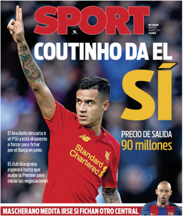 The Headline In Spanish Paper 'Sport' Says Coutinho Says Yes To Barcelona