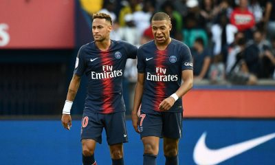 Kylian Mbappe and Neymar of PSG against Liverpool