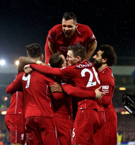 Liverpool players celebrate win