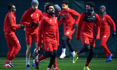 Liverpool players in training