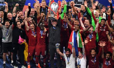 Jurgen Klop lifts the Champions League trophy