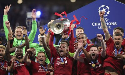 Liverpool lift Champions League trophy
