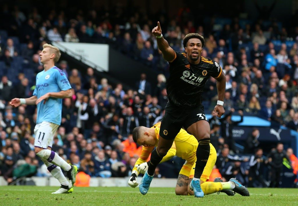 Adama Traore celebrates after scoring against Manchester City