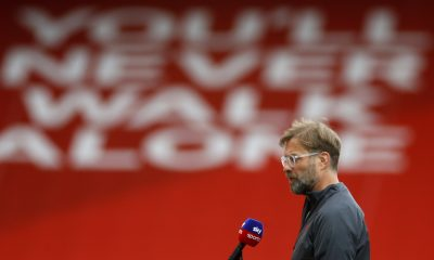 LIVERPOOL, ENGLAND - SEPTEMBER 12: Jurgen Klopp, Manager of Liverpool speaks to Sky Sports prior to the Premier League match between Liverpool and Leeds United at Anfield on September 12, 2020 in Liverpool, England. (Photo by Phil Noble - Pool/Getty Images)