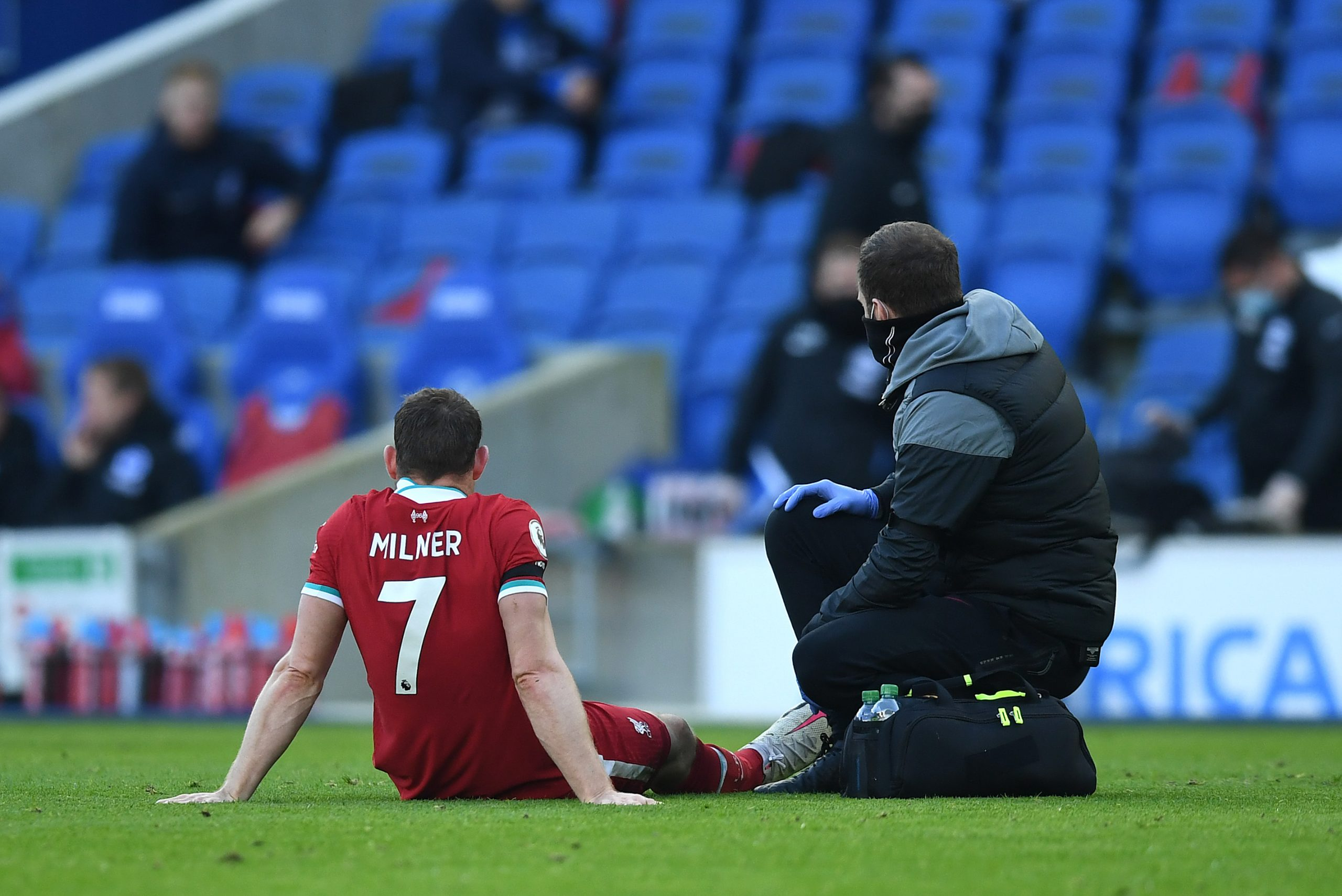 James Milner was forced off with a hamstring injury in the 73rd against Brighton and Hove Albion on Saturday. (GETTY Images)