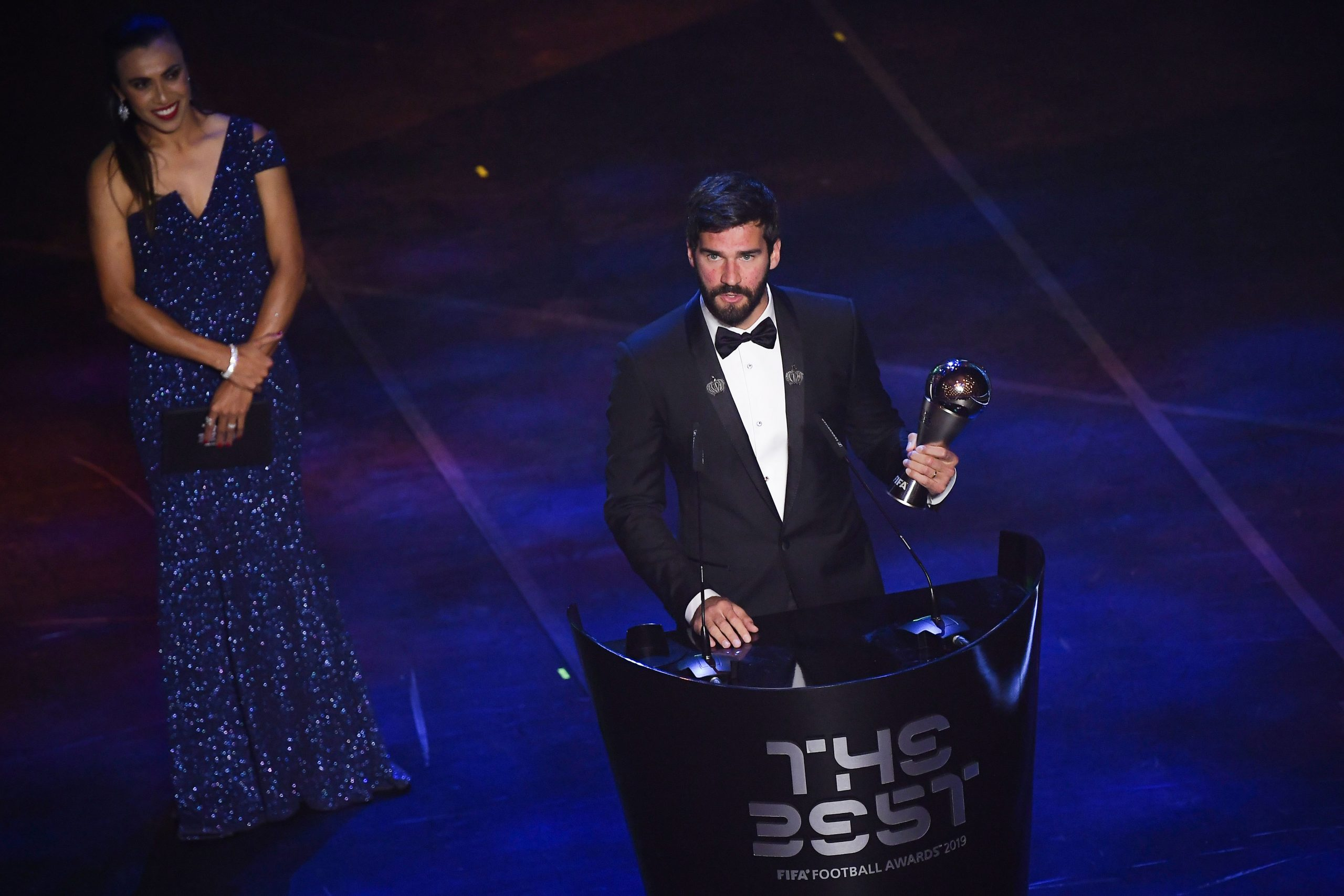 Brazil and Liverpool goalkeeper Alisson Becker speaks after winning the trophy for the Best FIFA Men's Goalkeeper of 2019 Award. (GETTY Images)