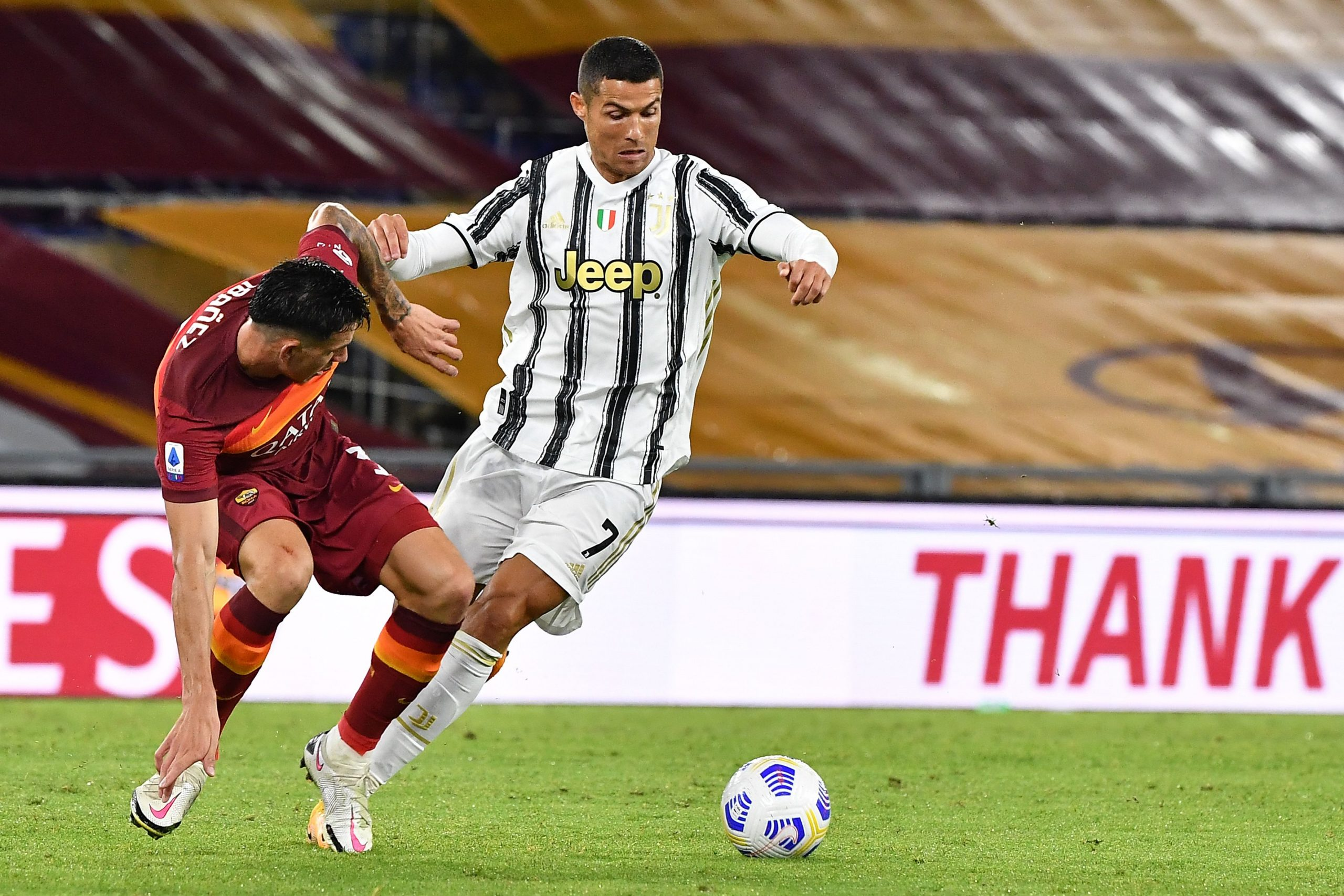 Roger Ibanez in action against Juventus' Cristiano Ronaldo. (GETTY Images)