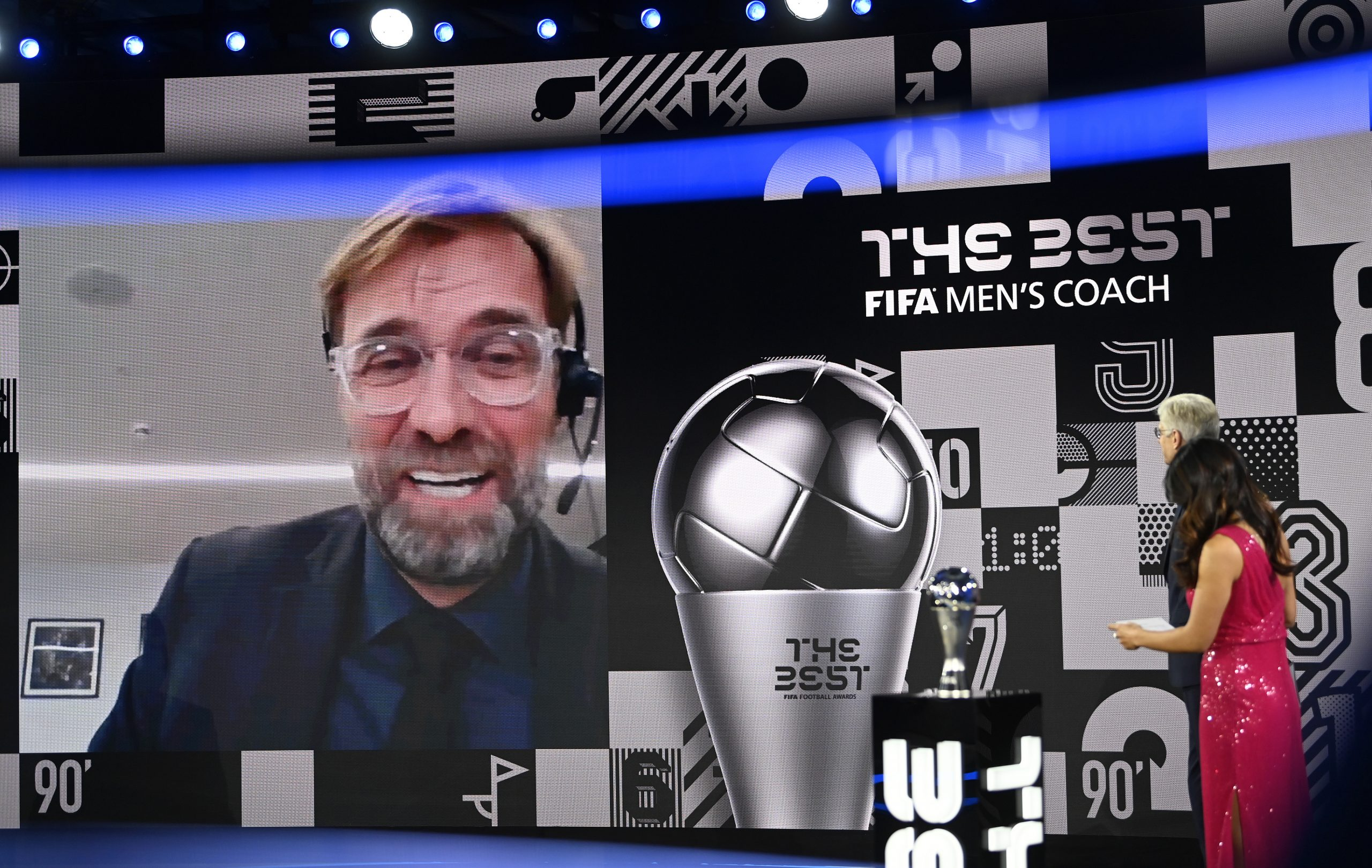 Jurgen Klopp accepts his men's coach of the year award at the the FIFA Best Awards on Thursday. (GETTY Images)