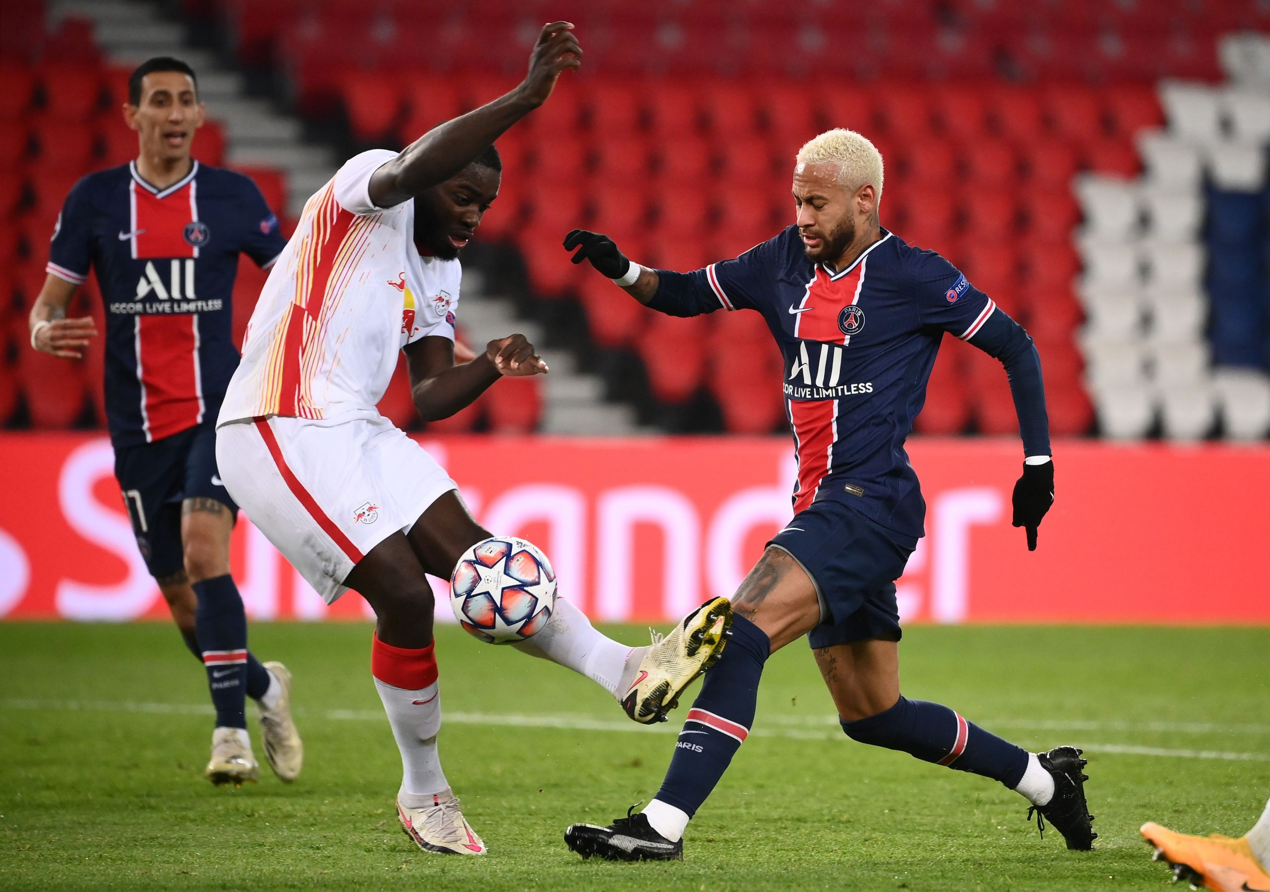 Ibrahima Konate tackles Neymar Jr. in a match against PSG in the UEFA Champions League. (GETTY Images)