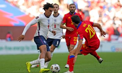 Trent Alexander-Arnold in action for the England national team.