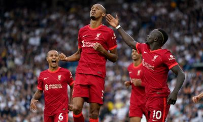 Fabinho reacts after scoring for Liverpool against Leeds.